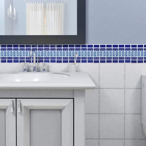 SomerTile 11.5x13.125-inch Modena Cobalt Blue Porcelain Mosaic Floor and Wall Tile