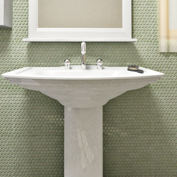 Shop SomerTile 12x12.625-inch Penny Light Green Porcelain Mosaic ...