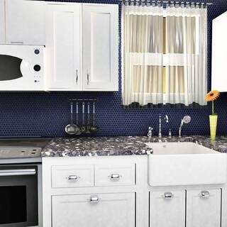 SomerTile 12x12.625-inch Penny Blue Eye Porcelain Mosaic Floor and Wall Tile (10 tiles/10.74 sqft.)