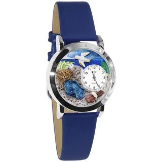 Whimsical Kids' Footprints Theme Royal Blue Leather Strap Watch