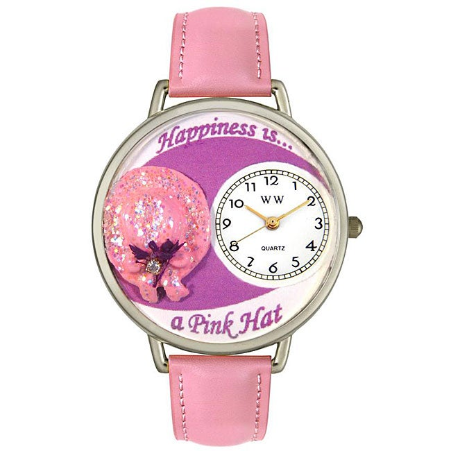 Whimsical Pink Hat Theme Leather Strap Watch