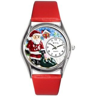 Whimsical Women's Christmas Santa Claus Theme Silvertone Watch
