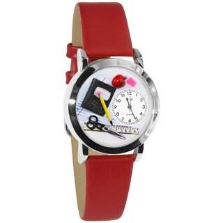 Whimsical Women's Teacher Theme Small Silvertone Watch