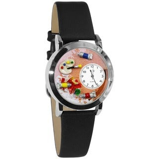 Whimsical Kids' Artist Theme Small Silvertone Watch