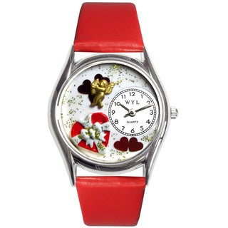 Whimsical Women's Valentine's Day Red Leather Strap Watch