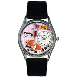 Whimsical Women's Veterinarian Theme Black Leather Strap Watch