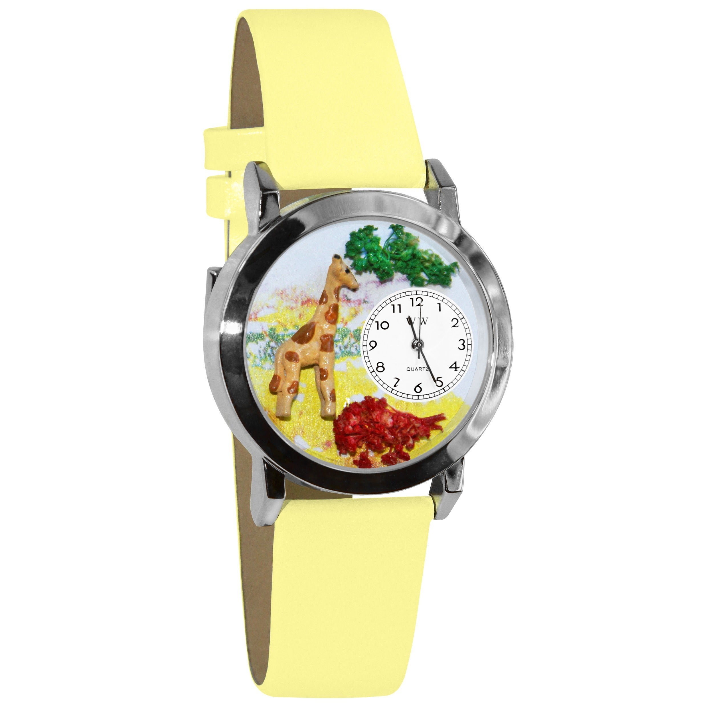 Whimsical Kids' Giraffe Theme Yellow Leather Strap Watch,...