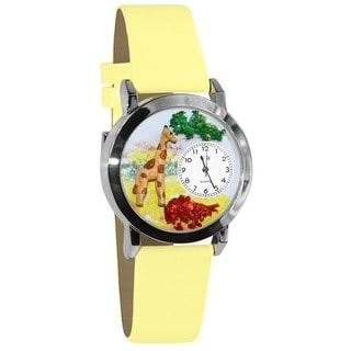 Whimsical Kids' Giraffe Theme Yellow Leather Strap Watch