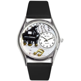Whimsical Kids' Music Piano Theme Black Leather Strap Watch