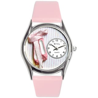 Whimsical Kids' Ballet Shoes Theme Pink Leather Strap Watch