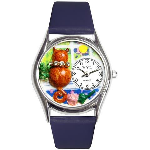 Whimsical Women's Aristo Cat Theme Royal Blue Strap Watch