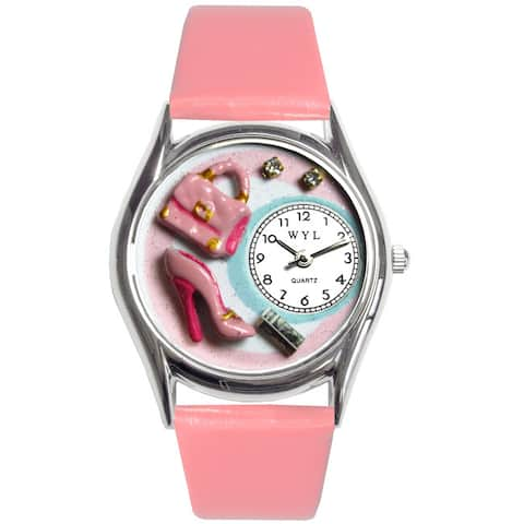 Whimsical Kids' Shopper Theme Pink Leather Strap Watch