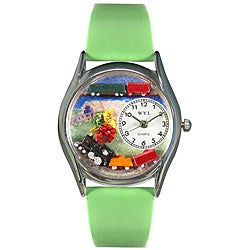 Whimsical Women's Trains Theme Green Leather Strap Watch