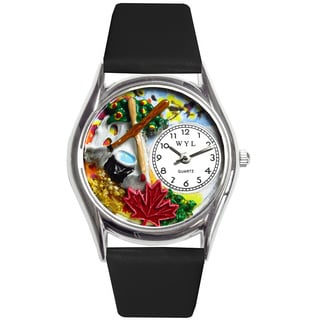 Whimsical Autumn Leaves Women's Black Leather Strap Watch