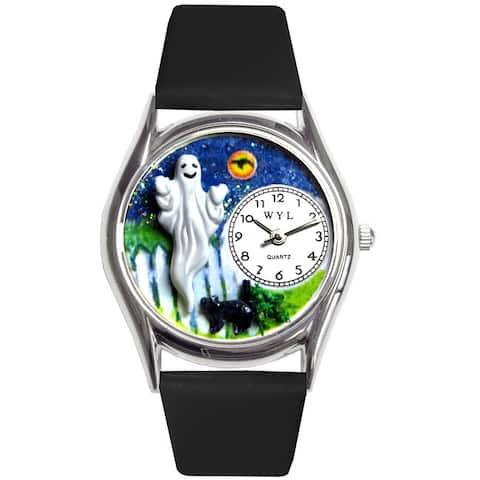 Whimsical Women's Halloween Ghost Theme Black Strap Watch