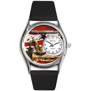 Whimsical Kids' Wind Instruments Theme Silvertone Case Watch