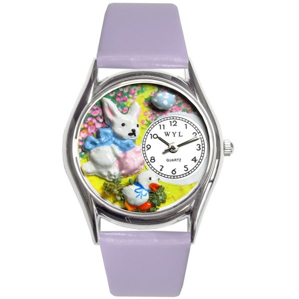 Whimsical Easter Bunny Women's Purple Leather Watch