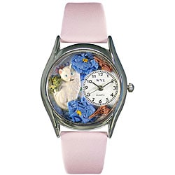 Whimsical Kids' White Cat Pink Leather Strap Watch