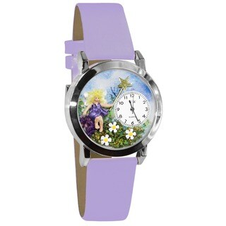 Whimsical Kids' Fairy Silvertone Lavender Leather Strap Watch