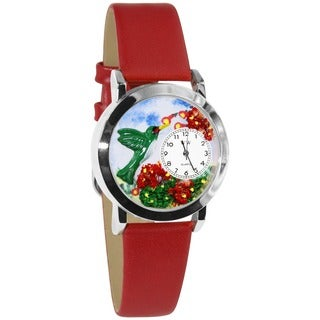 Whimsical Women's Hummingbirds Theme Red Leather Watch