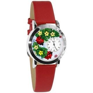 Whimsical Kids' Ladybugs Theme Silvertone Case Watch