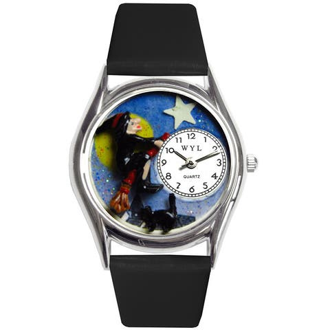 Whimsical Women's 'Halloween Flying Witch' Black Strap Watch