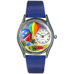 Whimsical Women's 'Hot Air Balloons' Theme Steel Case Watch