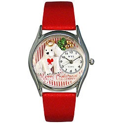 Whimsical Women's Christmas Puppy Theme Watch