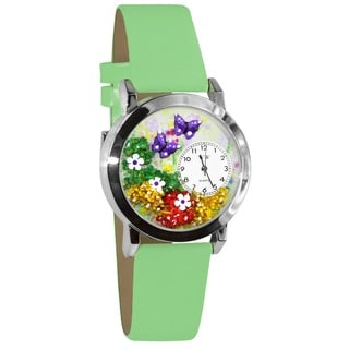 Whimsical Butterflies Kids' Green Leather Strap Watch