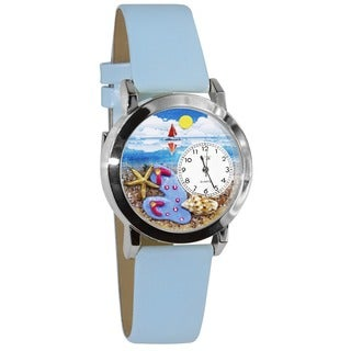Whimsical Kids' Flip-flops Baby Blue Leather Strap Watch