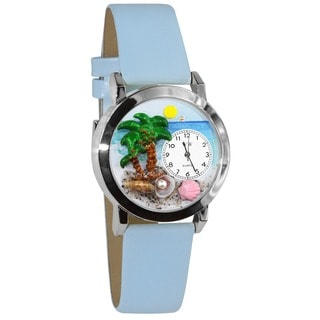 Whimsical Kids' Palm Tree Theme Baby Blue Leather Watch