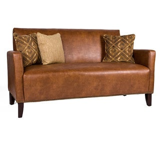 Handy Living Sutton Saddle Brown Renu Leather Sofa