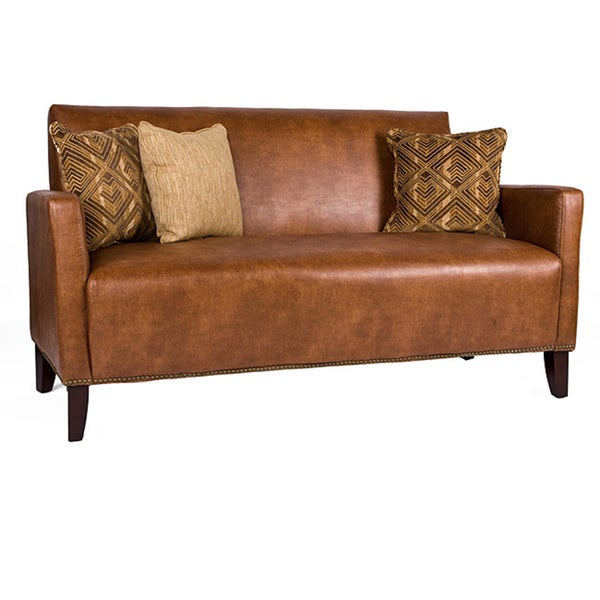Handy Living Sutton Saddle Brown Renu Leather Sofa - Free Shipping Today - Overstock.com - 12504416