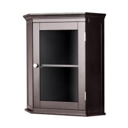 Classique Espresso Corner Wall Cabinet by Elegant Home Fashions