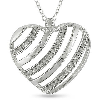 Silver 1/4ct TDW Diamond Stripe Heart Cutout Necklace