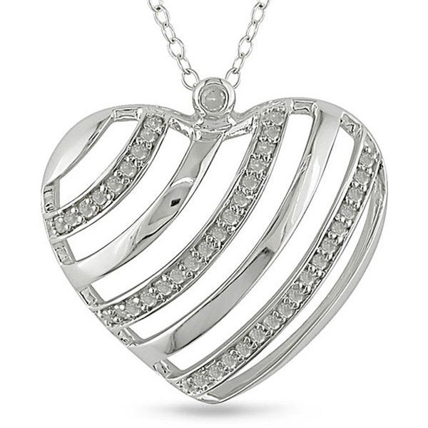 Silver 1/4ct TDW Diamond Stripe Heart Cutout Necklace (I-J, I3)
