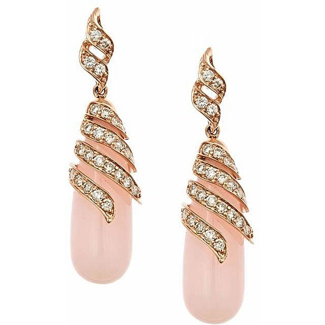 Anika and August 14k Rose Gold Pink Opal and 1ct TDW Diamond Earrings (G-H, IJ)