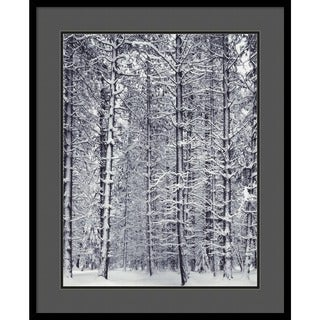 Framed Art Print 'Pine Forest in the Snow, Yosemite National Park' by Ansel Adams 27 x 33-inch