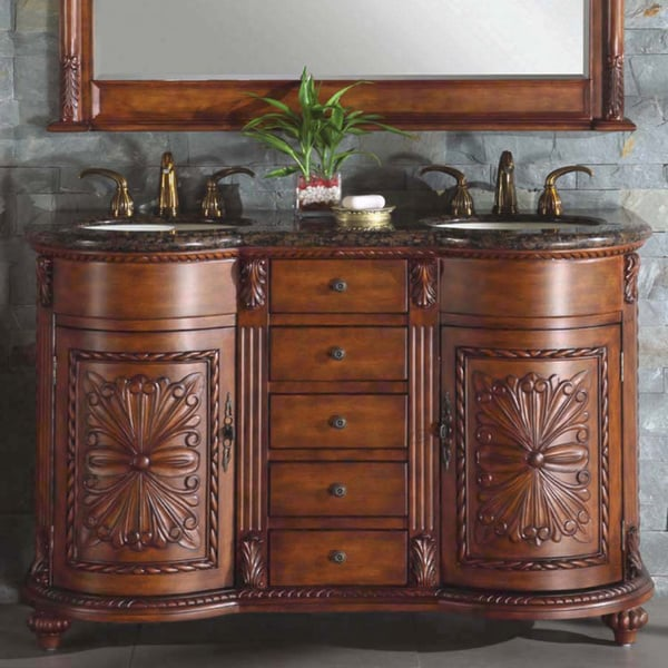 Shop silkroad exclusive waterford double sink bathroom vanity free shipping today overstock for Silkroad bathroom vanity reviews