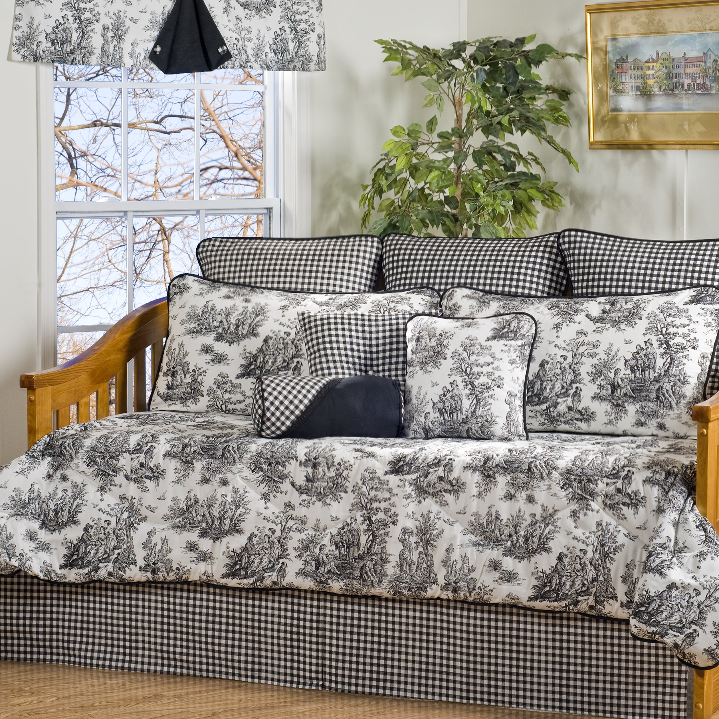 Shop Black Friday Deals On Plymouth Black And White Toile 10 Piece Cotton Daybed Set Overstock 4568099