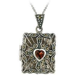 Glitzy Rocks Sterling Silver Garnet and Marcasite Rectangular Locket Necklace https://ak1.ostkcdn.com/images/products/4568507/Glitzy-Rocks-Sterling-Silver-Garnet-and-Marcasite-Rectangular-Locket-Necklace-P12506081.jpg?impolicy=medium
