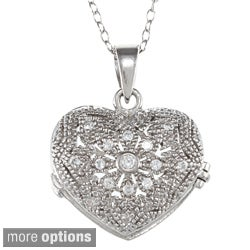Icz Stonez Sterling Silver Cubic Zirconia Flower Heart Locket Necklace