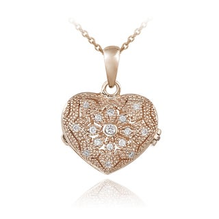 Icz Stonez Sterling Silver Cubic Zirconia Flower Heart Locket Necklace (2 options available)