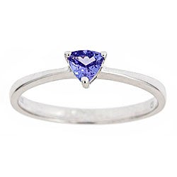 Anika and August Sterling Silver Trillion-cut Tanzanite Ring