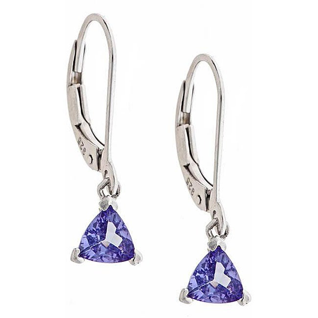 Anika and August Sterling Silver Trillion-cut Tanzanite Lever Earrings
