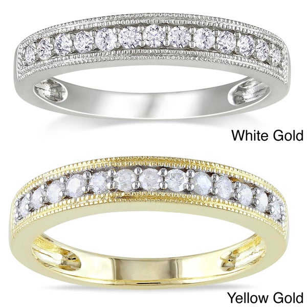 Miadora 10k Gold 1/4ct TDW Diamond Wedding Band