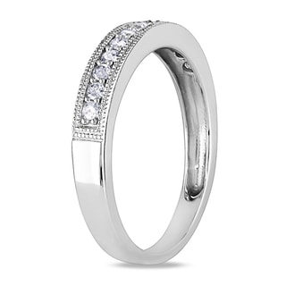 Miadora 10k Gold 1/4ct TDW Diamond Wedding Band (White - Size 9.5)