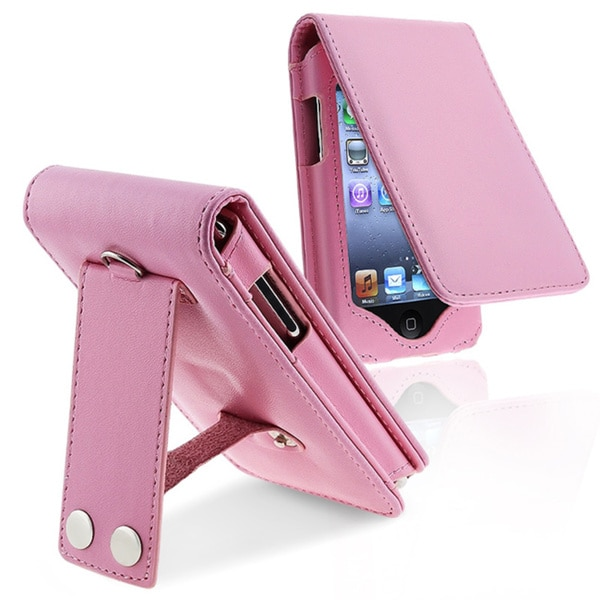 INSTEN Pink Leather iPod Case Cover/ Lanyard Kickstand for Apple iPod Touch
