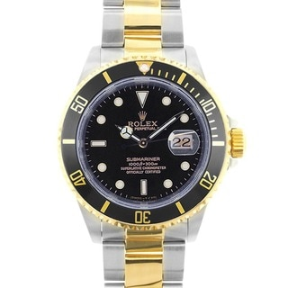 Pre-owned Rolex Date Submariner Men's Black Two-tone Watch Model 16613