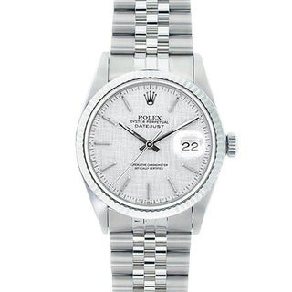 Pre-owned Rolex Datejust Men's White Gold Bezel Florentine Watch